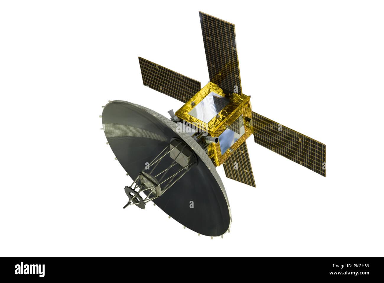 Satellite with solar panels, isolated on white background Stock Photo