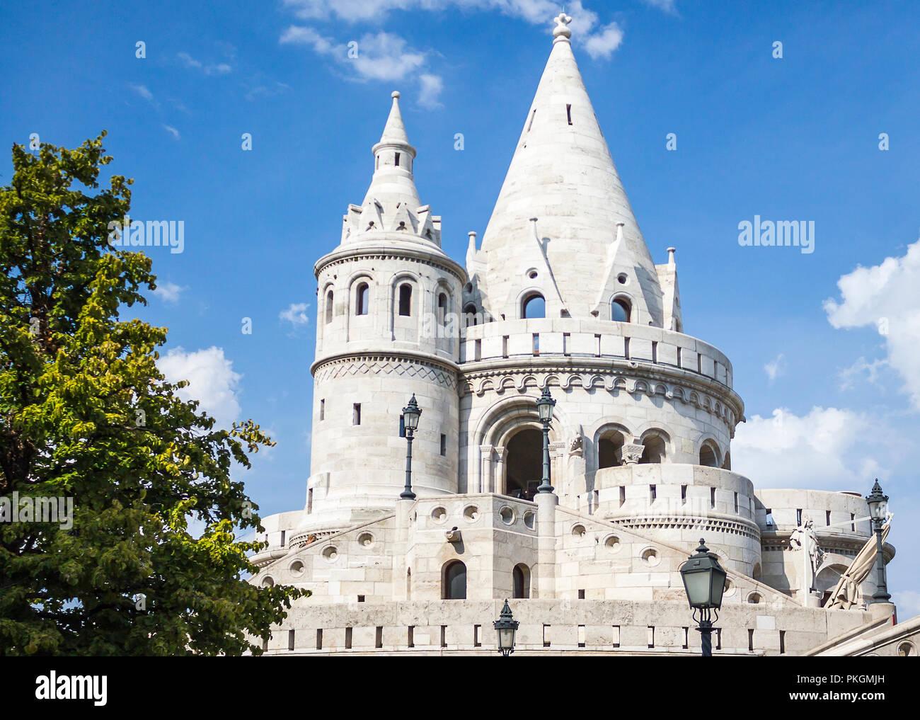 Tower of Fisherman's Bastion Close up. Budapest, Hungary. Stock Photo