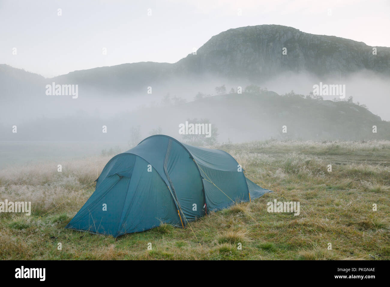 Camping tent at a wild campsite in norwegian mountains in a morning light - Stock Image