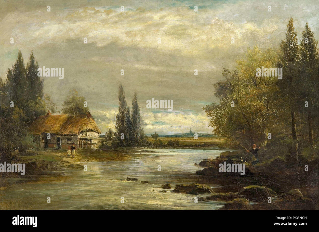 fc89acf6b70b Halswelle Keeley - River Landscape with Cottage and Figures Stock ...