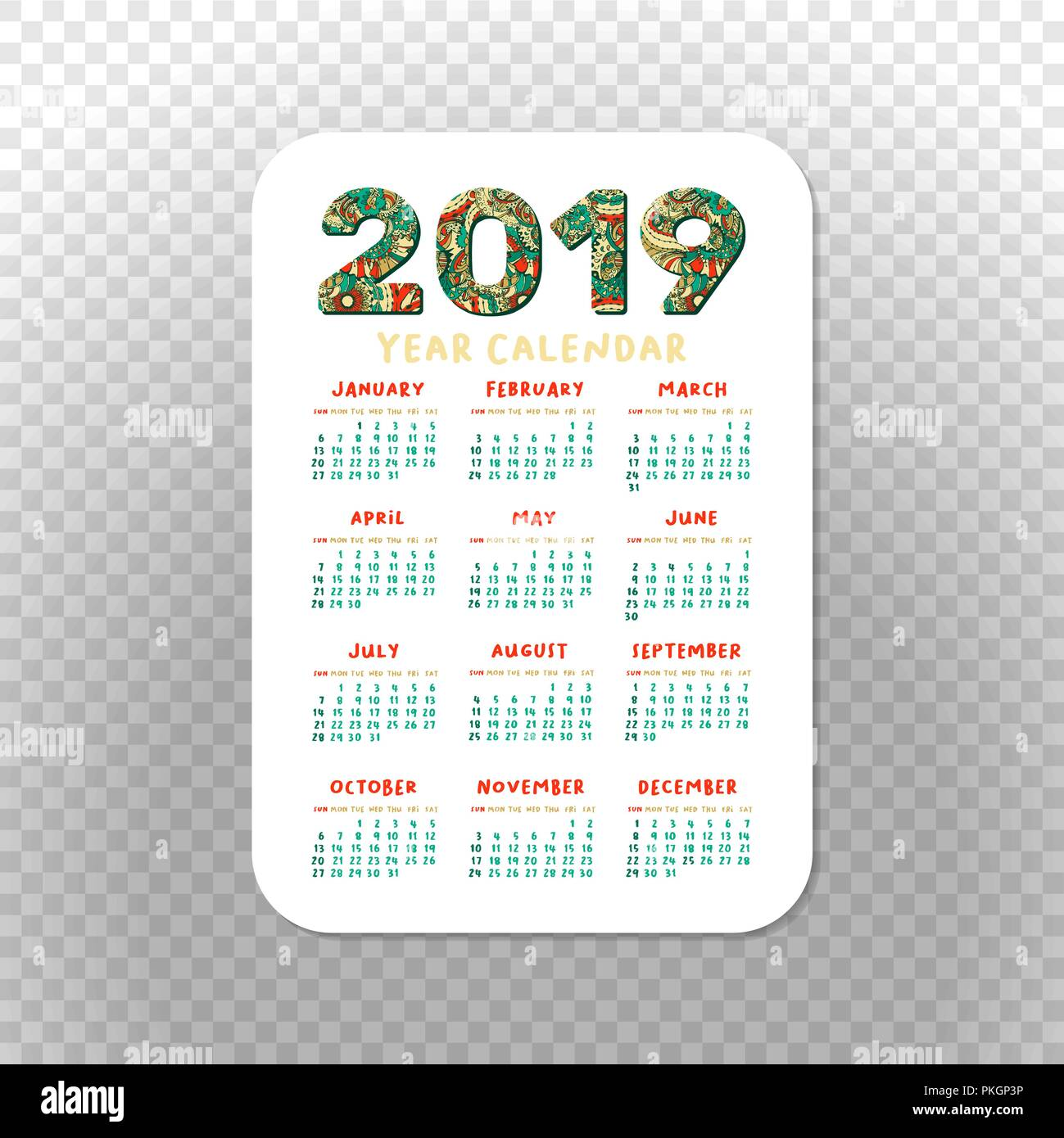 2019 Pocket Calendar Basic Grid  Vector Vertical Orientation  White