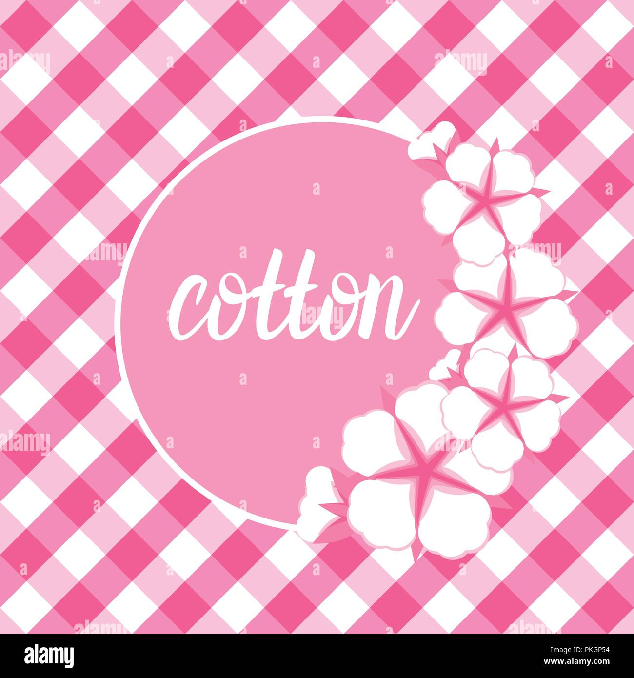 Cotton flower frame flat style on cute pink vichy background cotton flower frame flat style on cute pink vichy background vector illustration mightylinksfo