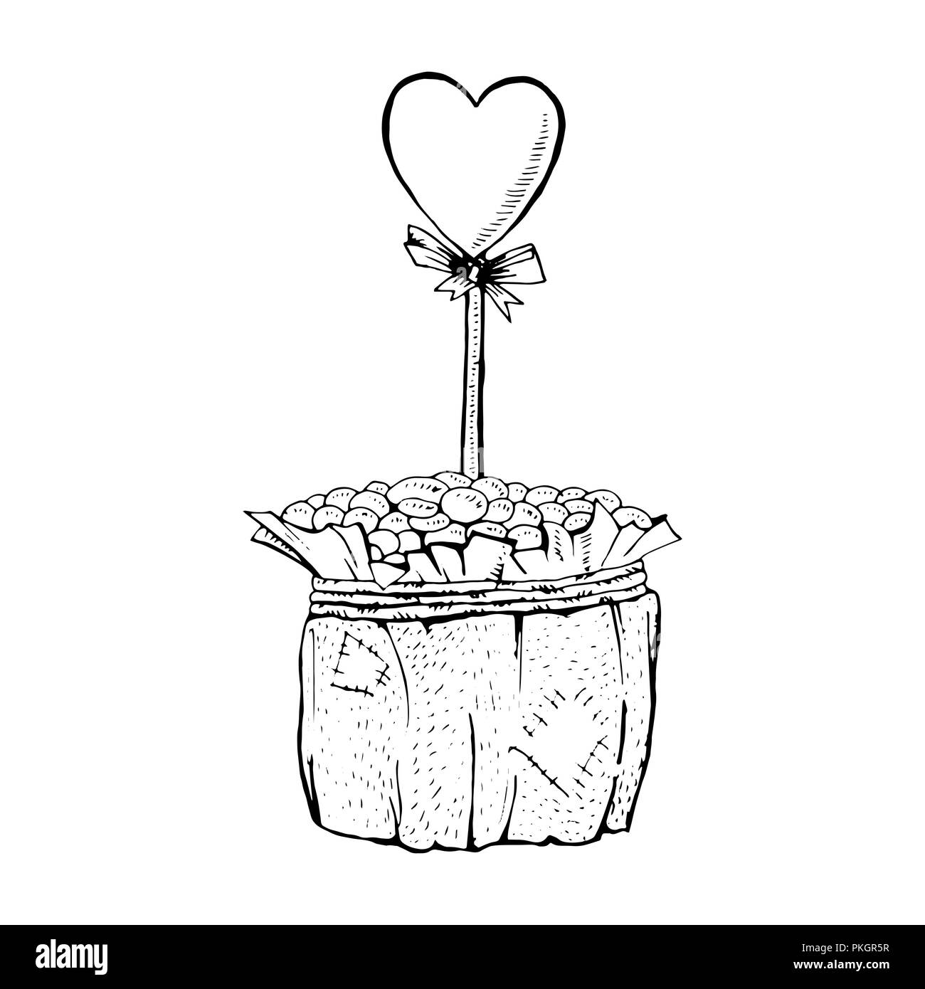 Coffee pot with heart on stick sketch monochrome illustration handmade coffee beans pot with