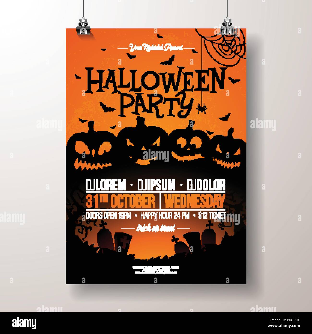 halloween party flyer vector illustration with scary faced pumpkins