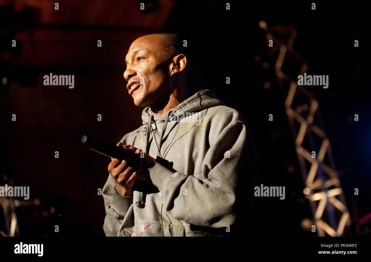 English producer and vocalist Tricky performing at the Radio 1 Sessies, in Antwerp (Belgium, 18/11/2015) - Stock Image