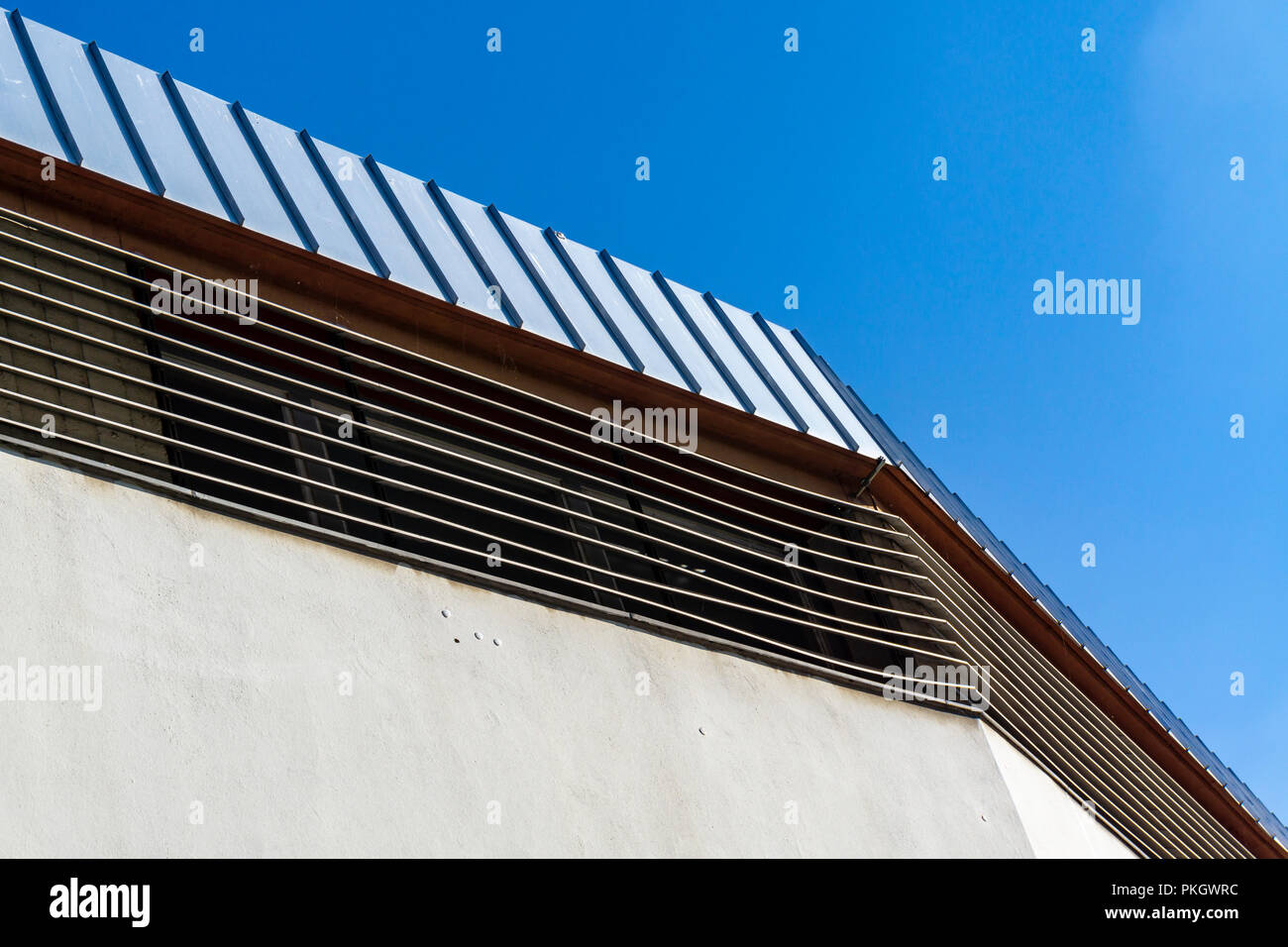 Berlin, Germany, July 26, 2018:  Close-Up of Architectural Feature of Roof of Warehouse - Stock Image