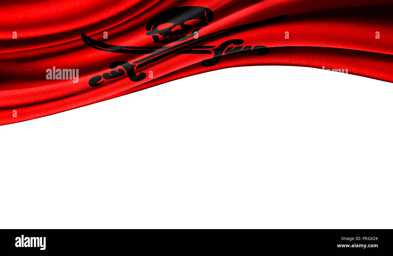 Grunge colorful flag of Pirates red with copyspace for your text or images,isolated on white background. Close up, fluttering downwind. - Stock Image