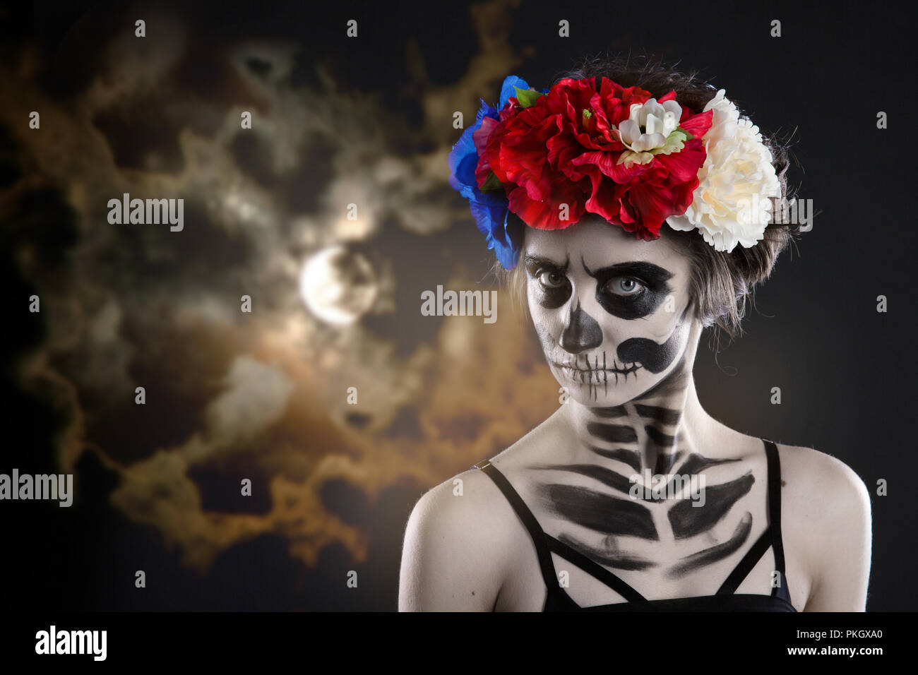 Woman Art Make Up Scary Skull Make Up For Halloween Face Art Body Art Is Painted Paints For Body Art Cosmetics Skin Horror Beauty Nightmares Stock Photo Alamy