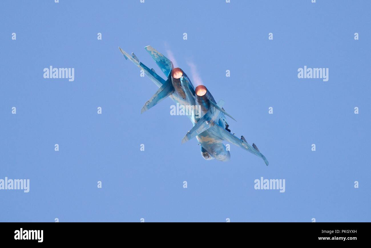 Ukrainian Air Force - Sukhoi Su-27 fighter jet codenamed 'Flanker' by NATO - Stock Image