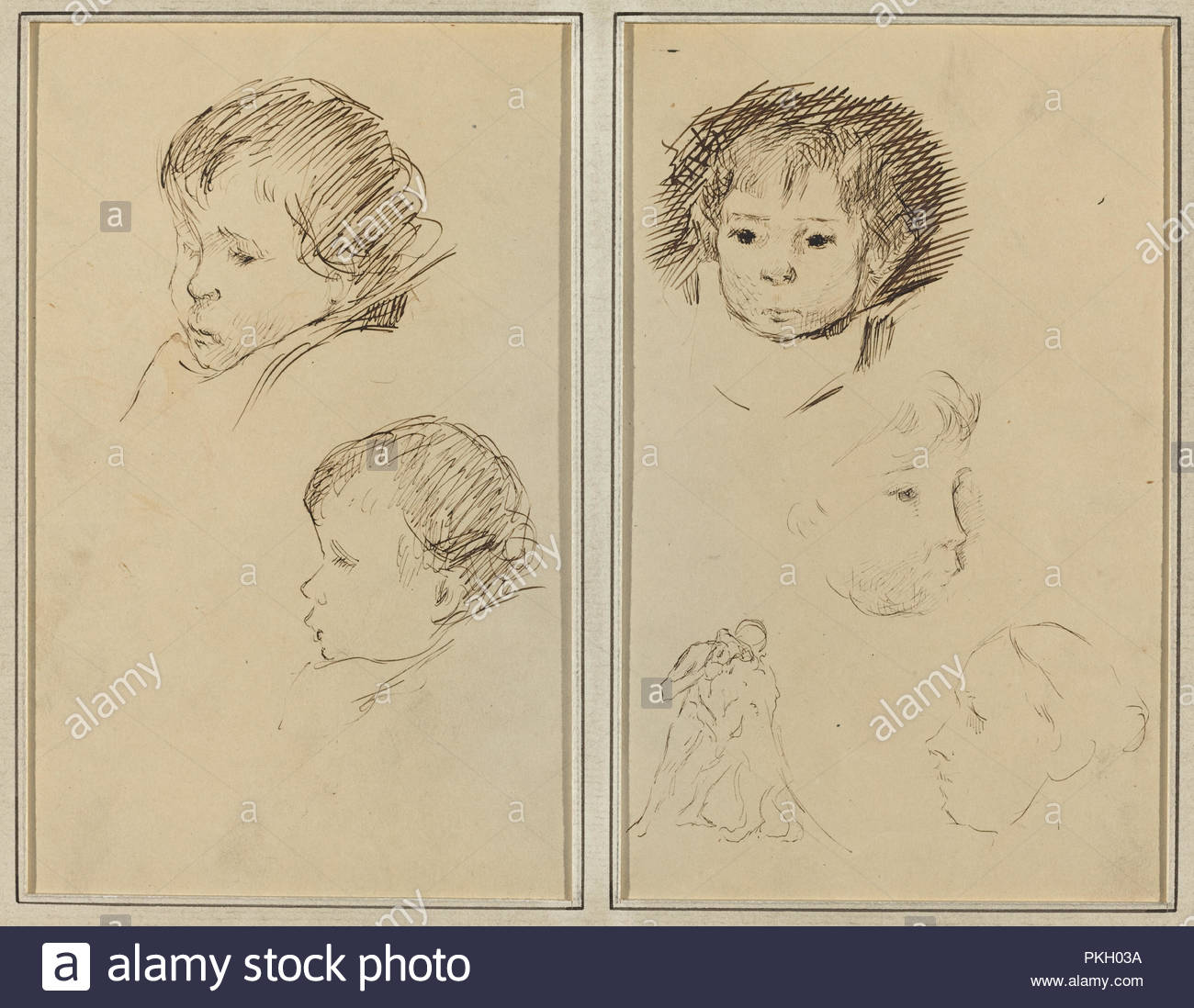 Five Stu S Of Heads A Boy In Profile With Stu S Of Hands And Feet Verso Dated 1884 1888 Dimensions Overall 16   5  7 8 In