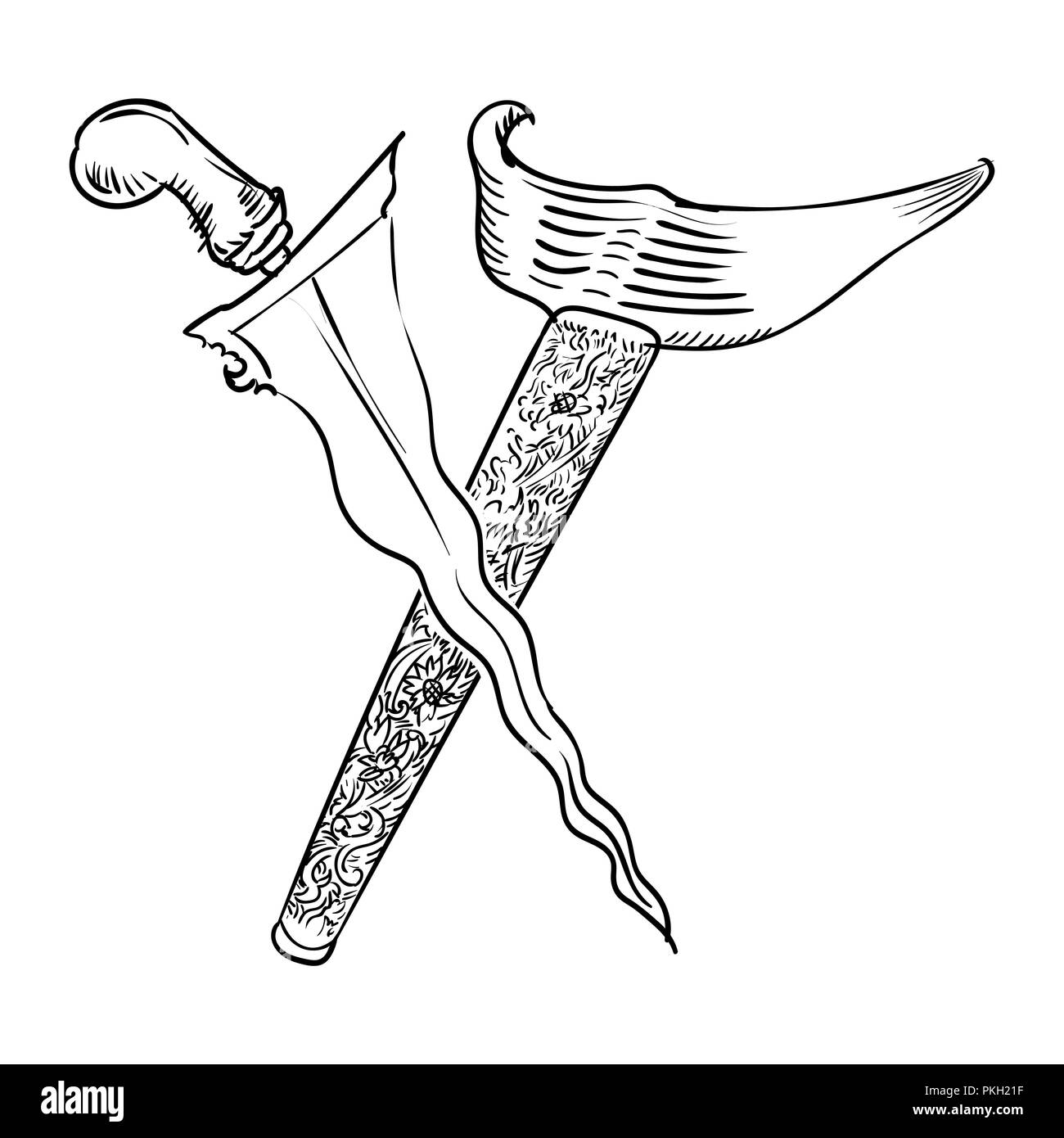 Malay Dagger or Keris Hand drawn for coloring book, isolated on white background - Vector Illustration. - Stock Vector