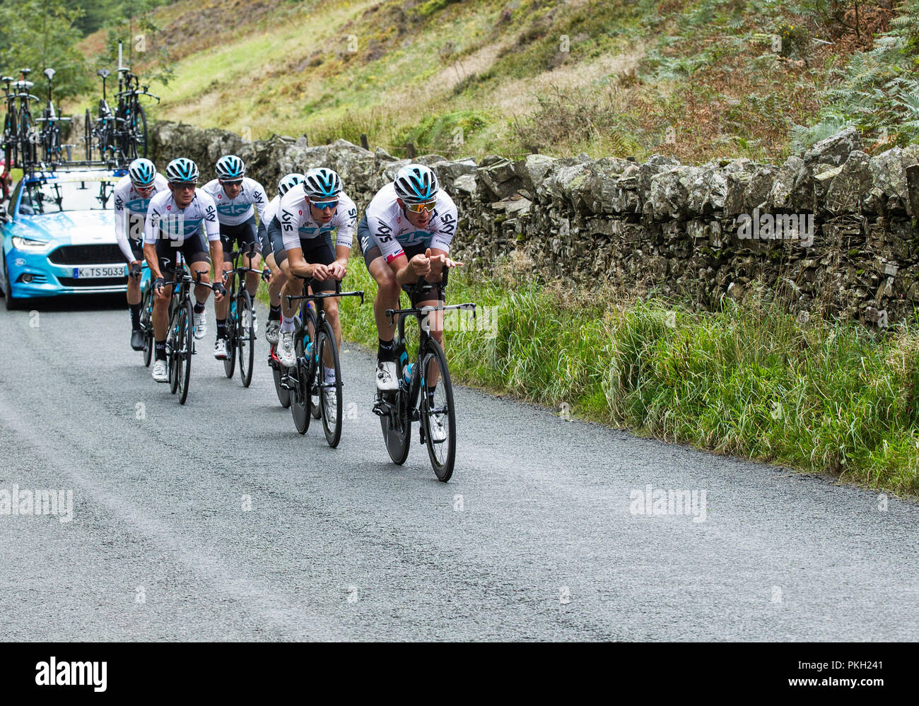 OVO Tour of Britain 2018,  Mens Cycle Race, Stage 5 Team Time Trial, Cockermouth to Whinlatter 14 kms Stock Photo
