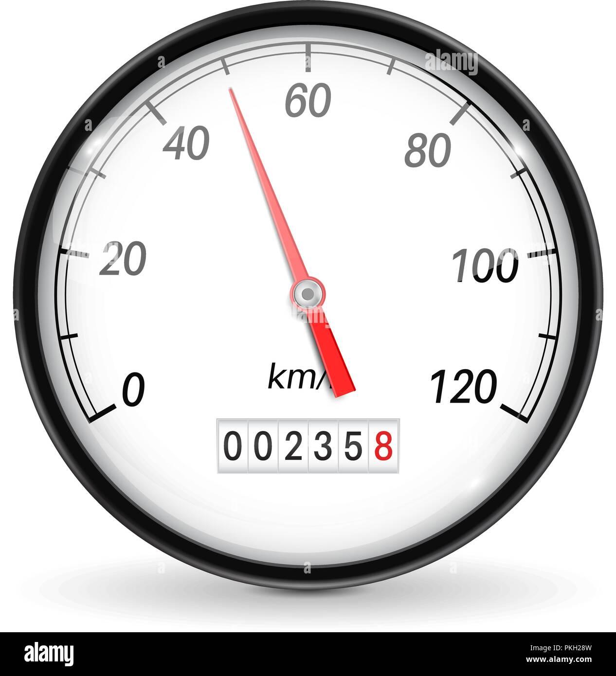 Speedometer. White car dashboard gauge Stock Vector