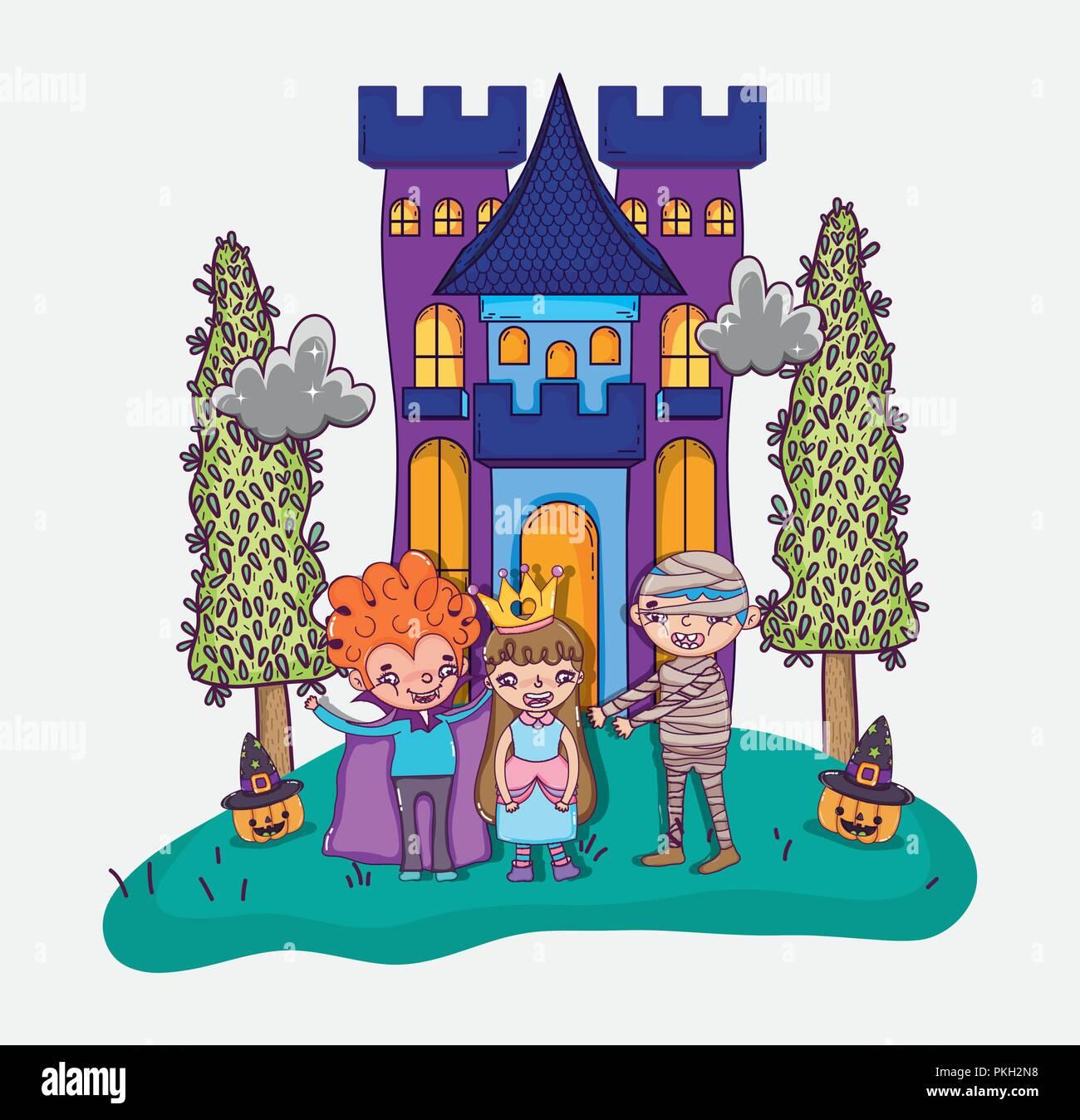 Halloween and kids cartoons - Stock Image