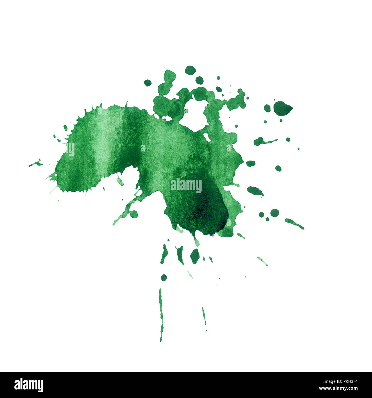 Green paint watercolor splash texture. Hand drawn inkblot on paper. Green dry spot on white background. Ink splatter. Shapeless paint drop design element. Isolated ink blob raster - Stock Image