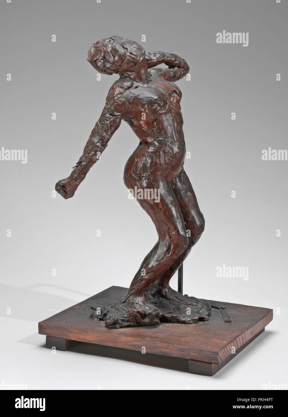 Woman Stretching. Dated: c. 1896/1911. Dimensions: overall without base: 36.4 x 20.2 x 15.4 cm (14 5/16 x 7 15/16 x 6 1/16 in.). Medium: pigmented beeswax, metal armature, on wooden base. Museum: National Gallery of Art, Washington DC. Author: EDGAR DEGAS. - Stock Image