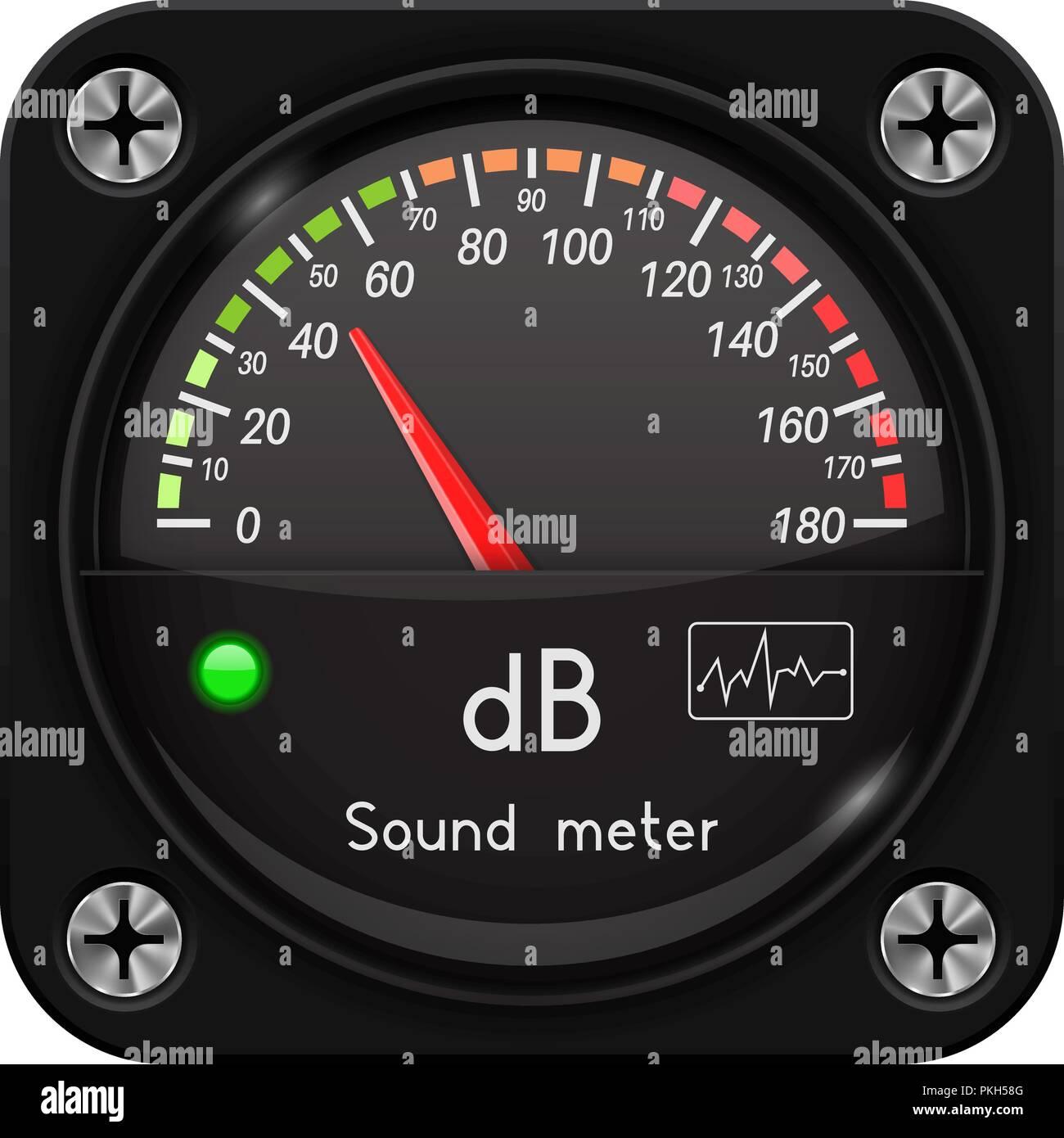 Volume unit meter. Sound audio equipment - Stock Vector