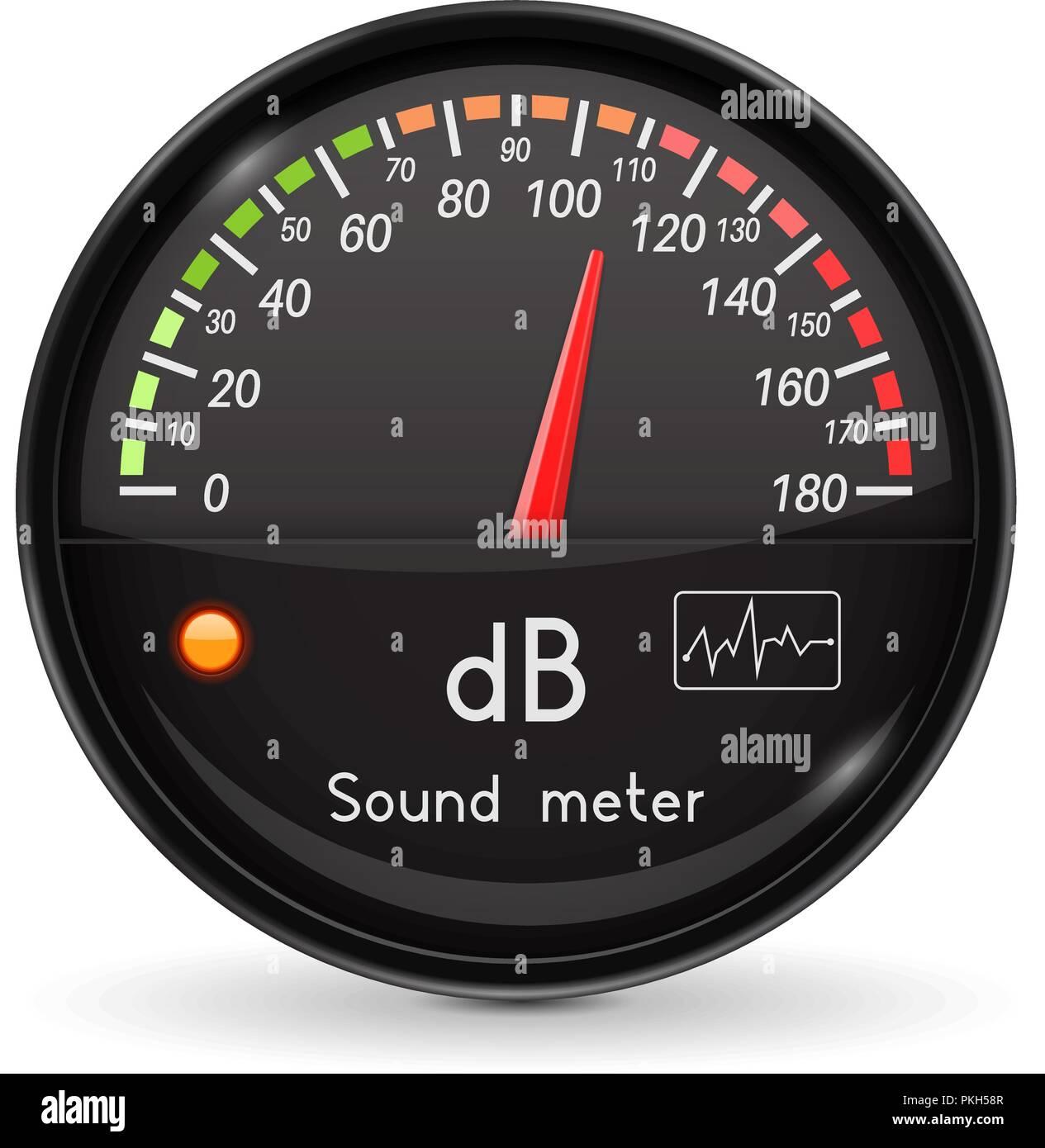 Volume unit meter. Sound audio equipment. Black glass gauge with chrome frame - Stock Vector
