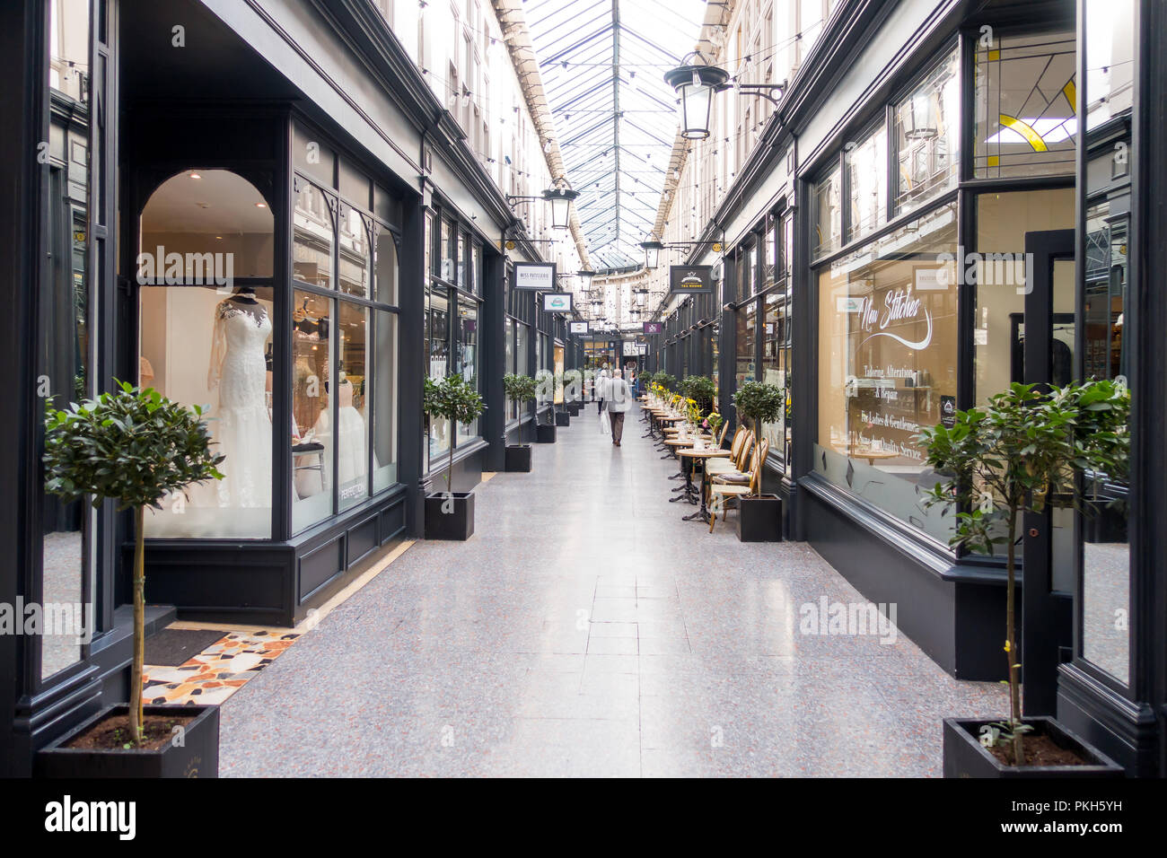 Cardiff, United Kingdom -  September 07, 2017: Castle Quarter Arcade with shops and coffee shops in Cardiff city center. - Stock Image