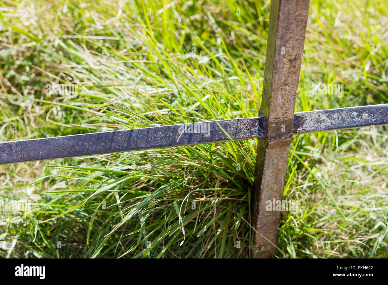 Grass and metal fence post close up - Stock Image