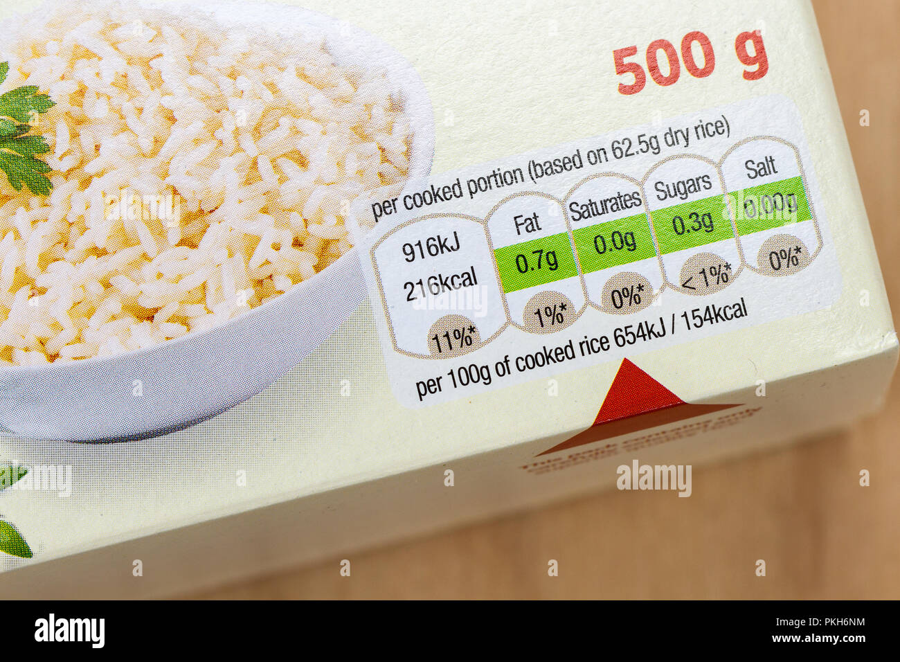 food label nutritional information close up on a box of boil in the