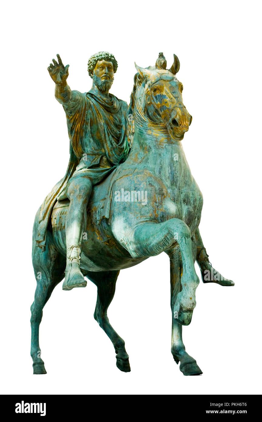 Original equestrian statue of emperor Marcus Aurelius on a white background - Stock Image