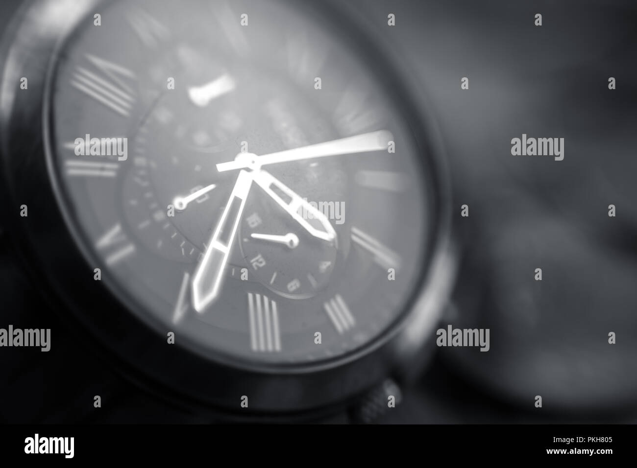 Chronograph hand watch close up makro shot - Stock Image