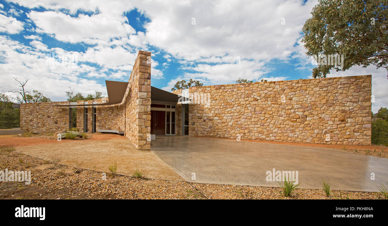 Panoramic view of modern public building, visitor centre at Warrumbungle National Park, with a unique design and constructed from local stone NSW - Stock Image