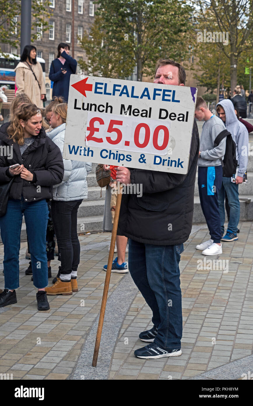 El Falafel, a local fast food outlet, advertising their lunchtime meal deal during Fresher's Week at Edinburgh University. - Stock Image