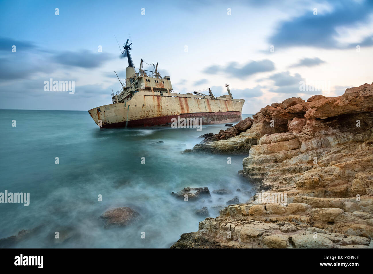 Abandoned ship that was shipwrecked off near the coast of Cyprus - Stock Image