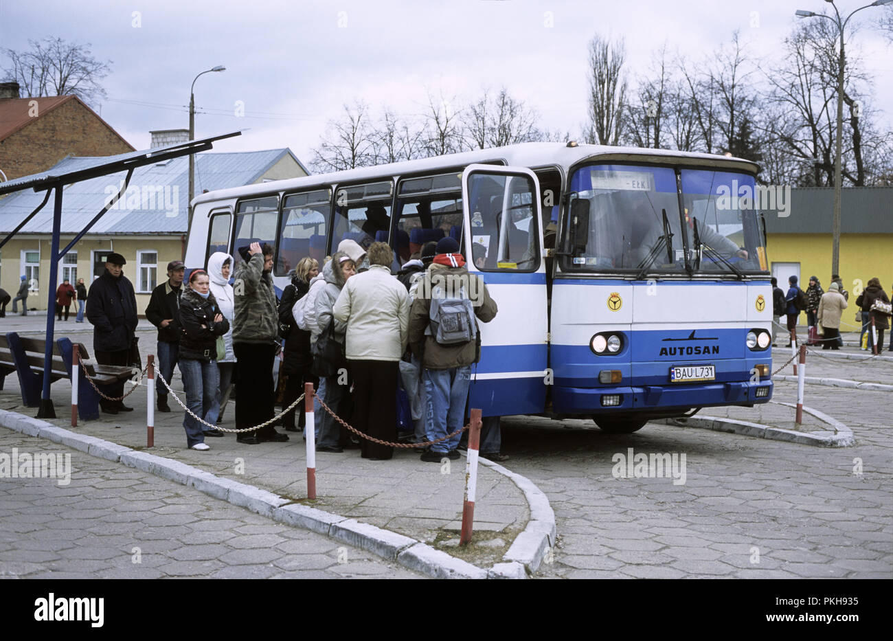 Bus going to Elk waiting at Augustow PKS bus station  March 2008 - Stock Image