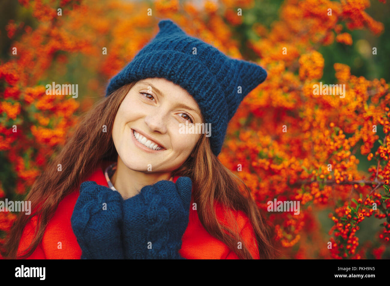 87c09599163 Outdoor close up portrait of young beautiful happy smiling hipster girl  posing on street