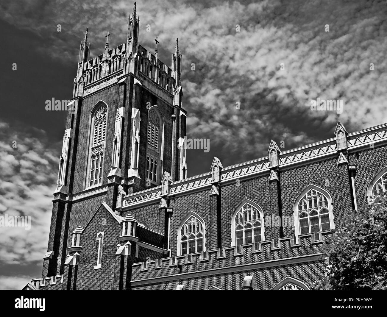 New Orleans, LA USA - May 9, 2018  -  Holy Name Of Jesus Catholic Church Loyola Campus off of St. Charles Ave in B&W - Stock Image