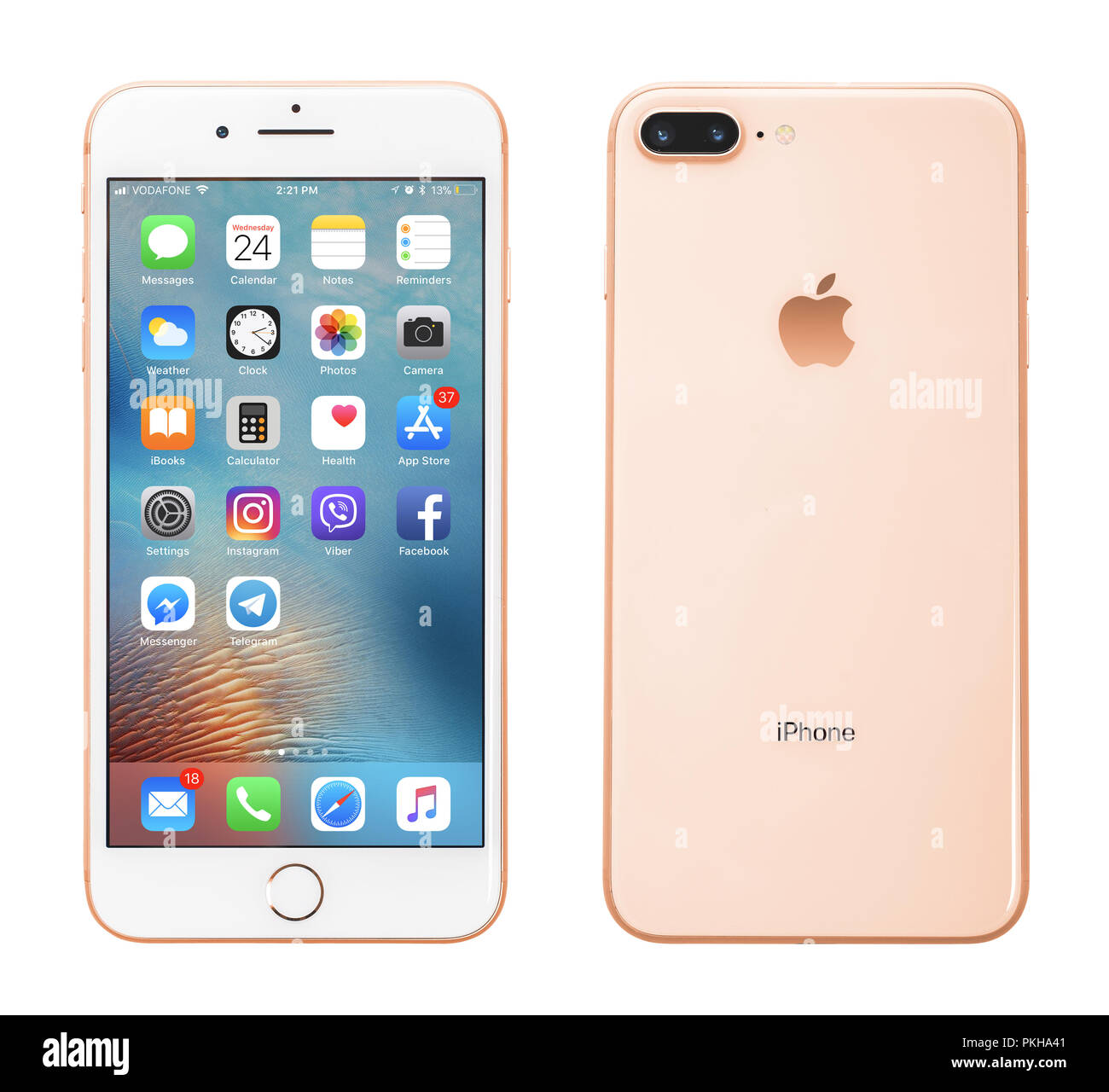 Kyiv, Ukraine - January 24, 2018: Front and back view of Apple iPhone 8 Plus Gold  isolated on white background with clipping path - Stock Image