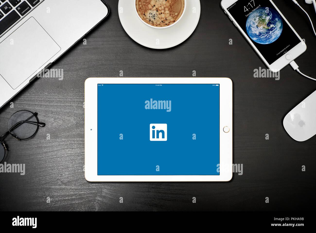 Kyiv, Ukraine - Fabruary 6, 2018: Apple iPad Gold with Linkedin app