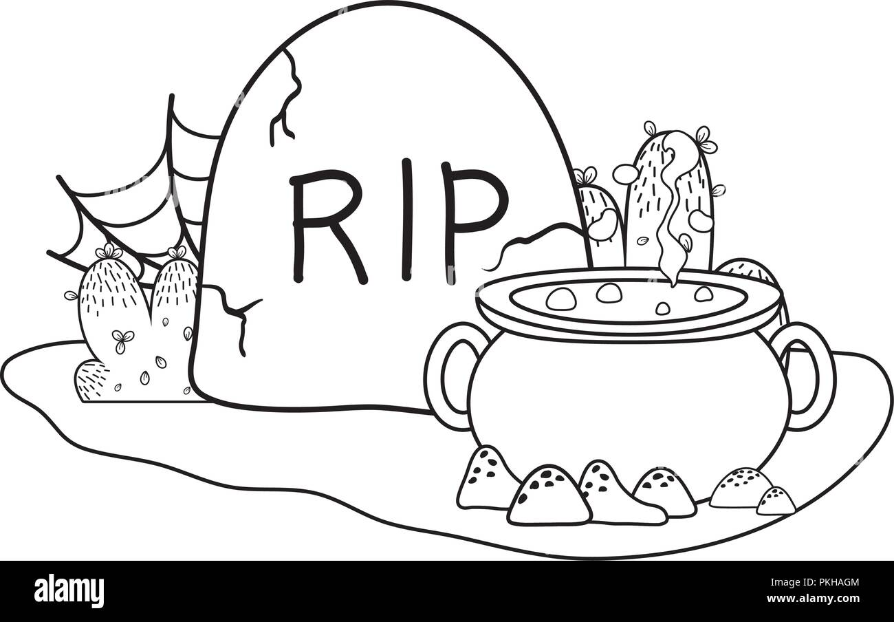 outline pot cauldron with rip stone and spiderweb - Stock Vector