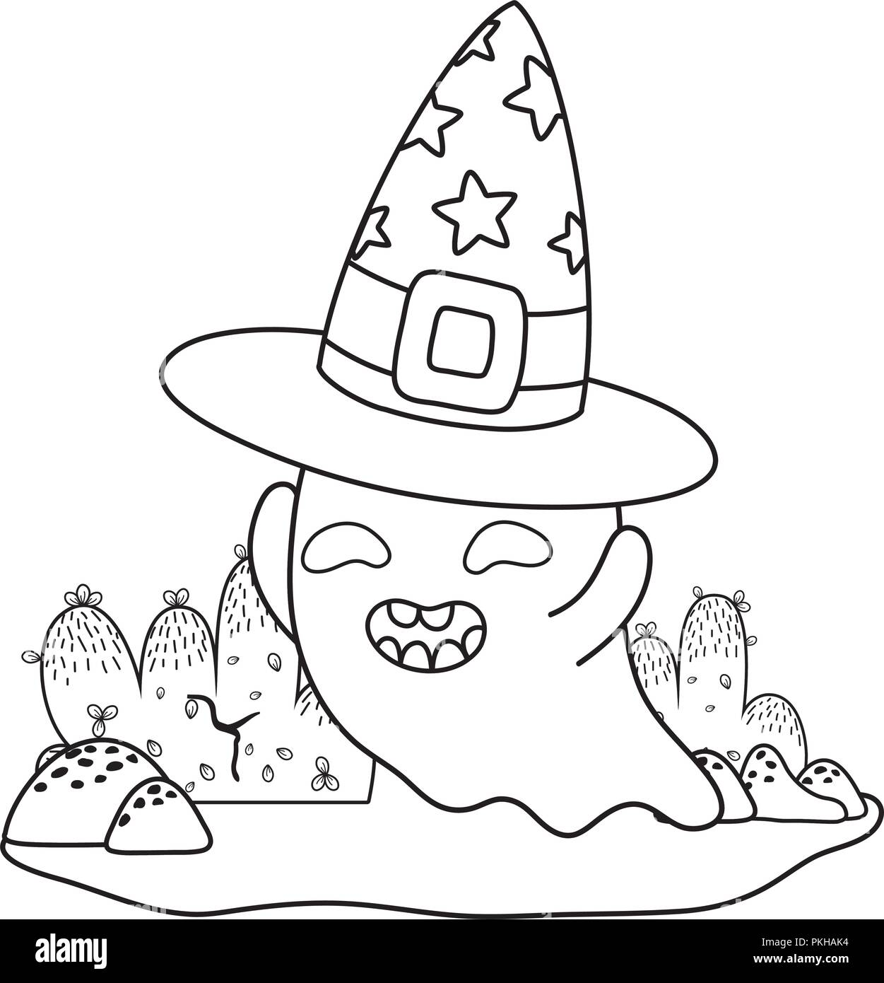 outline happy ghost character with witch hat - Stock Image