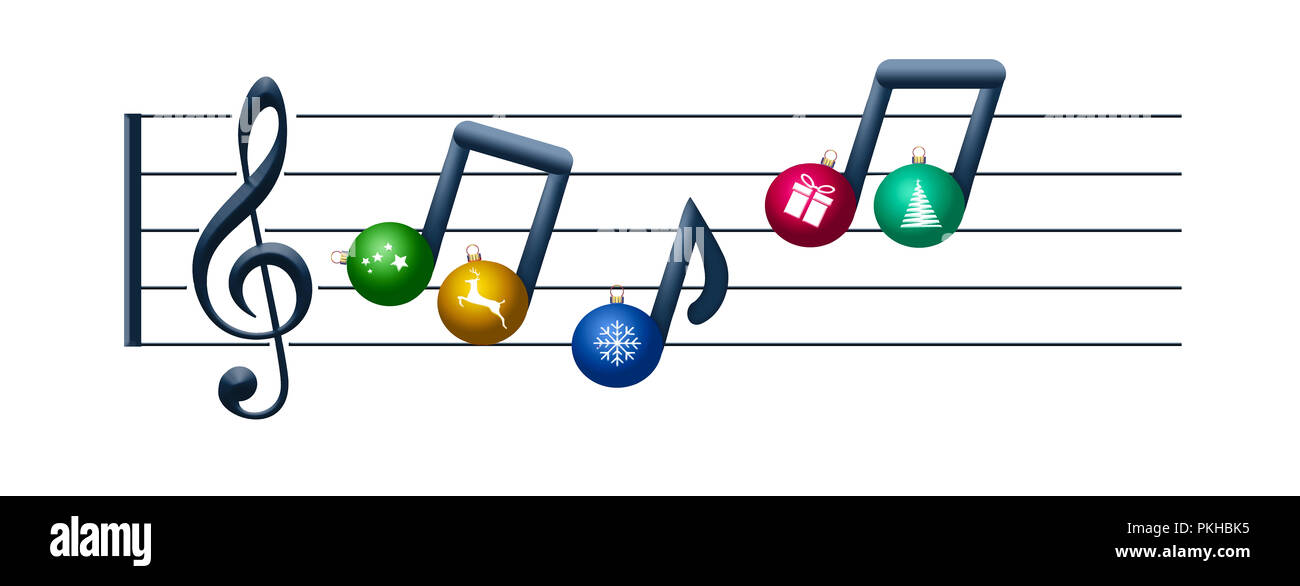 Christmas Music Notes.Musical Notes Made Of Christmas Ornaments Float On A Treble