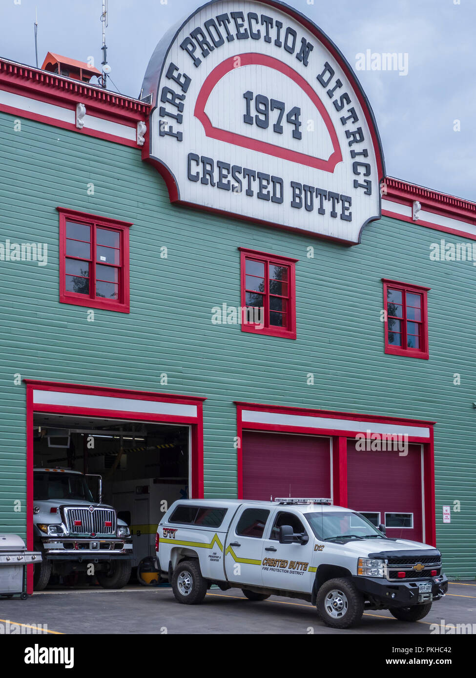Fire protection district fire station, Crested Butte, Colorado. - Stock Image