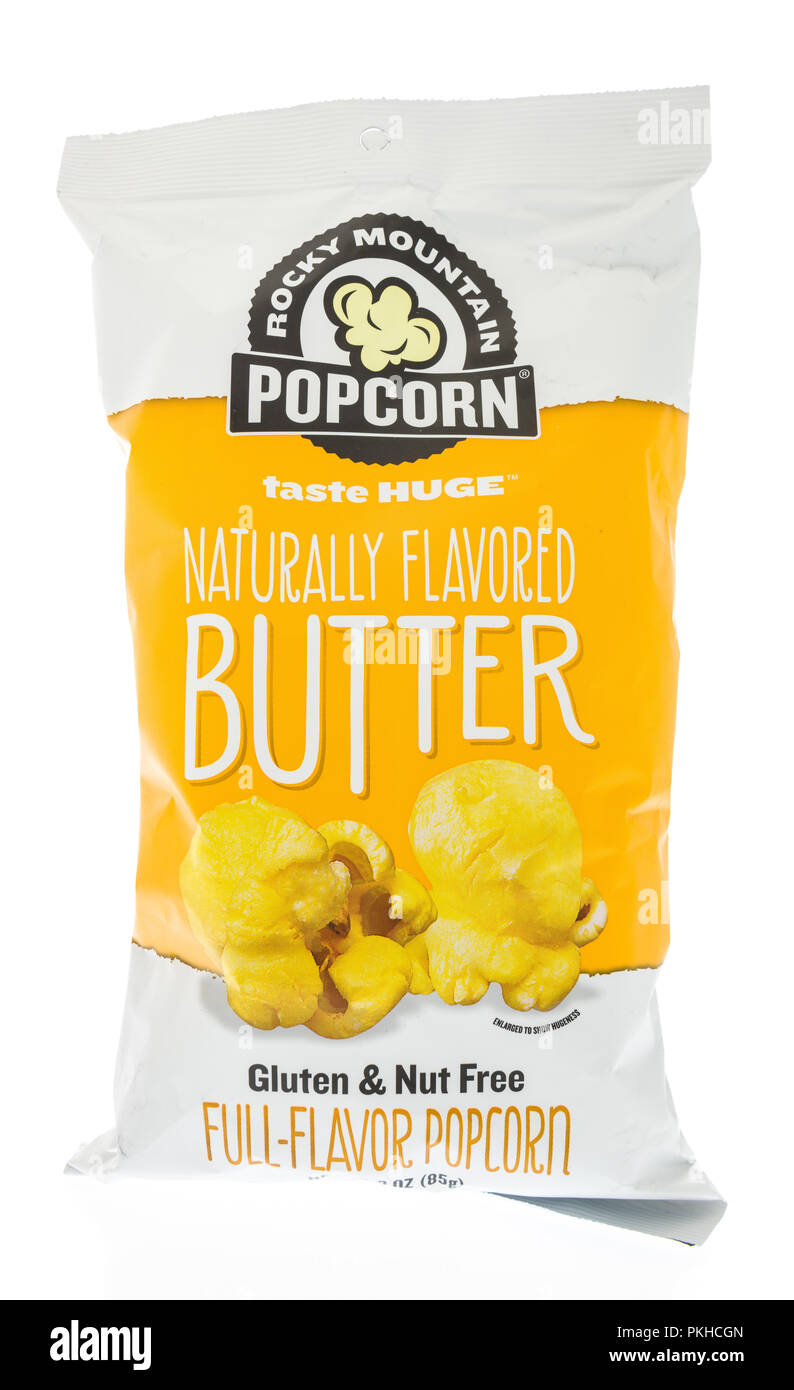 Winneconne Wi 9 September 2018 A Bag Of Rocky Mountain Butter Popcorn On An Isolated Background Stock Photo Alamy