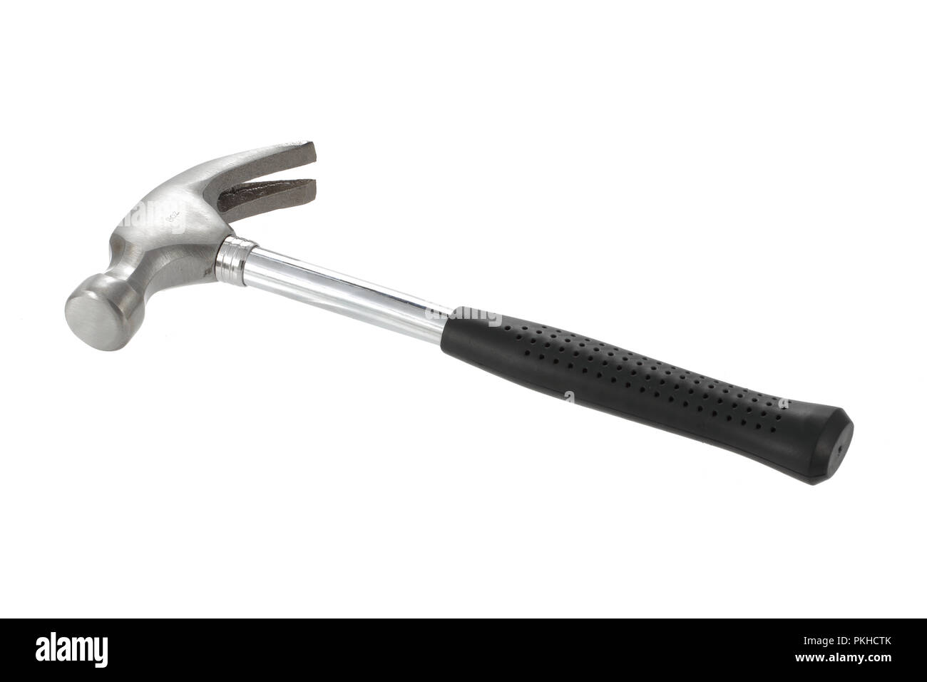 Small 8 oz claw hammer isolated on a white background - Stock Image