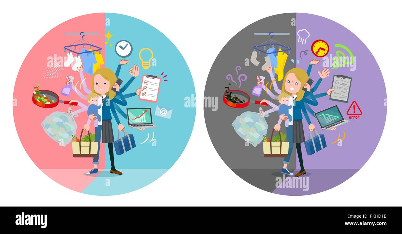 A set of school girl who perform multitasking in offices and private.There are things to do smoothly and a pattern that is in a panic.It's vector art  - Stock Image