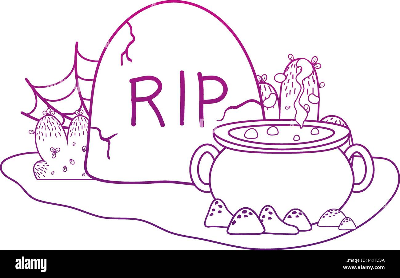 degraded outline pot cauldron with rip stone and spiderweb - Stock Vector