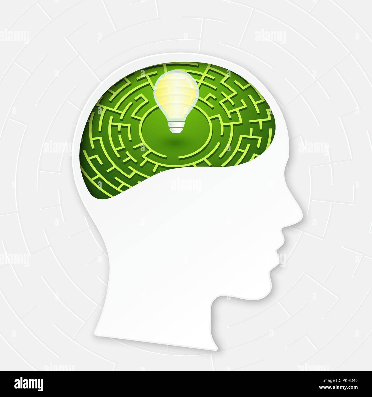 Head with  maze line brain, mind labyrinth, mental work. Vector illustration concept for  strategic thinking, problem solving, creativity, business, s - Stock Image