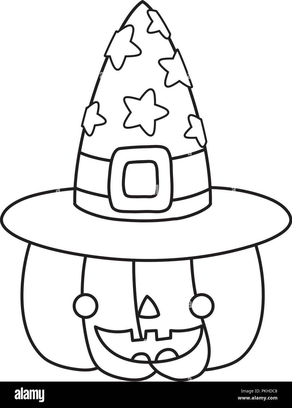 Outline Happy Pumpkin With Witch Hat Style Stock Vector Image Art Alamy