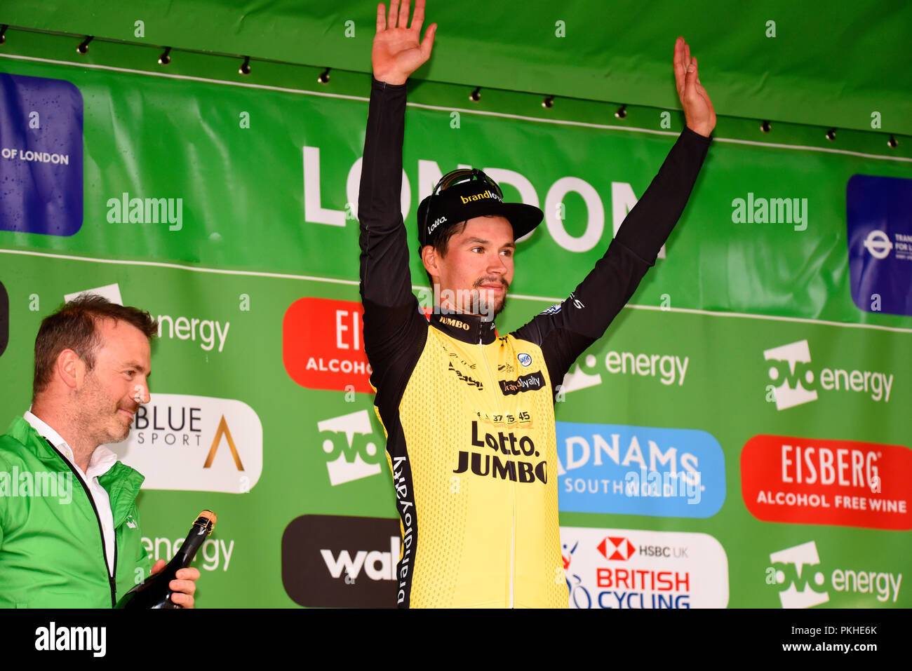 Primoz Roglic of Team Lotto NL Jumbo on the podium at the OVO Energy Tour of  Britain cycle race 39f98e3d1