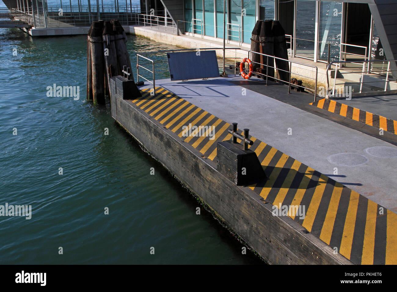 Floating pier pontoon for docking big boats - Stock Image