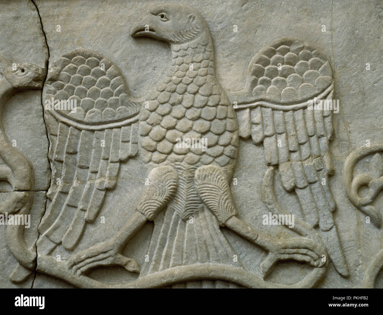 Marble slab. Allegorical reliefe depicting an eagle. Byzantine. 10th-11th century. From Istambul, Turkey. British Museum. London. England. - Stock Image