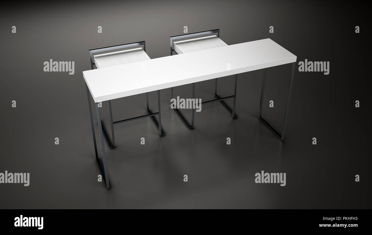 Table & Chair,3d rendering,3d illustration,White Table,White chair,Chair,Table,Steel Legs, Gray,Gray Background,White Table & Chair, Counter,Modern - Stock Image
