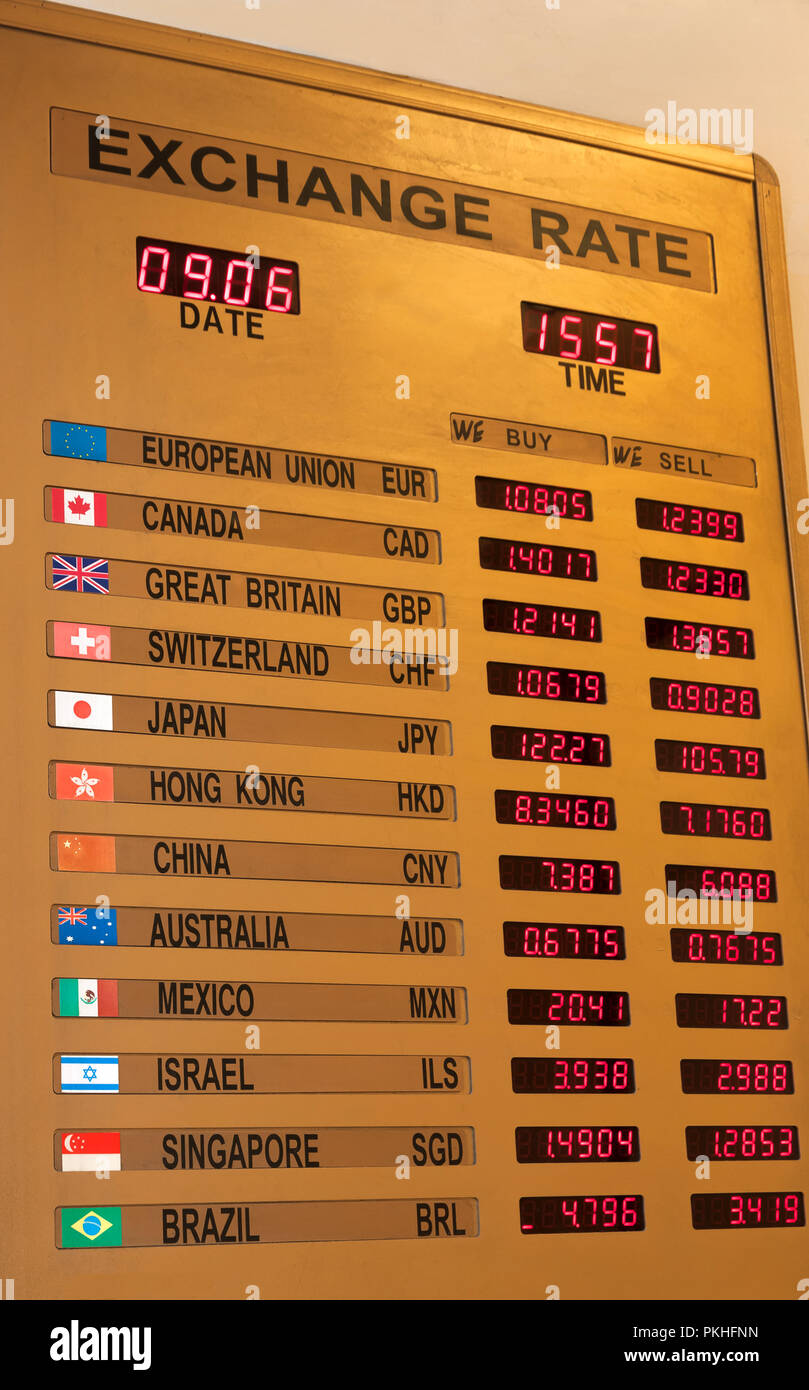 Currency Exchange Rate Board in New York City, New York, USA. Stock Photo